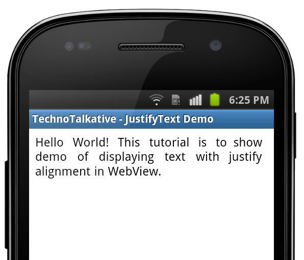 Android justify text