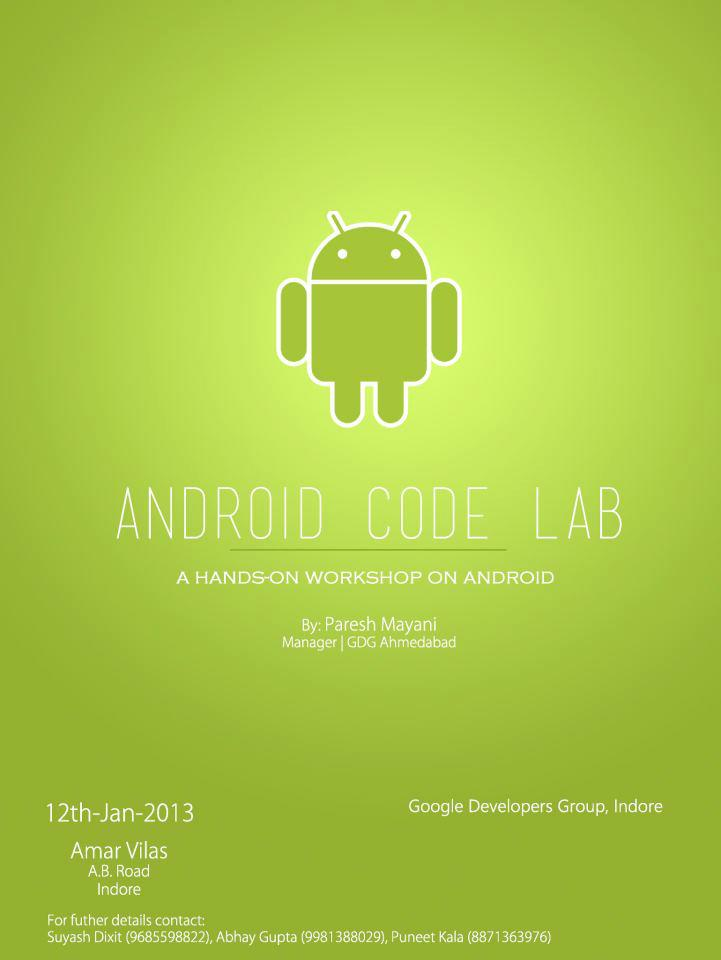 Android code lab session by GDG Indore