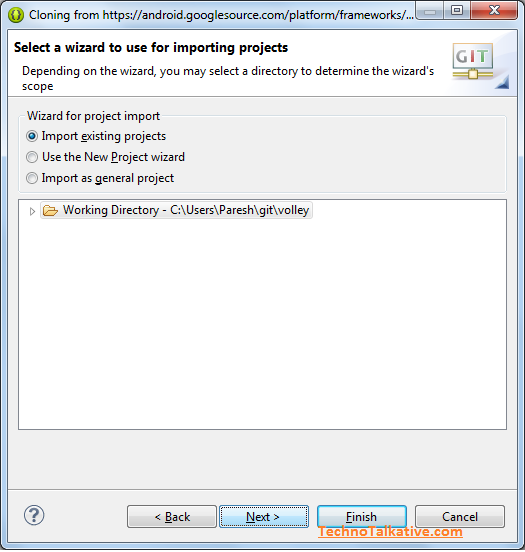 import Android projects from Git