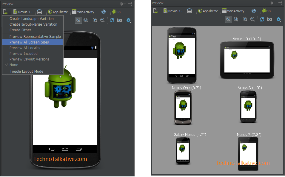 Preview All screens _ Android Studio