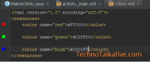 color preview - Android Studio