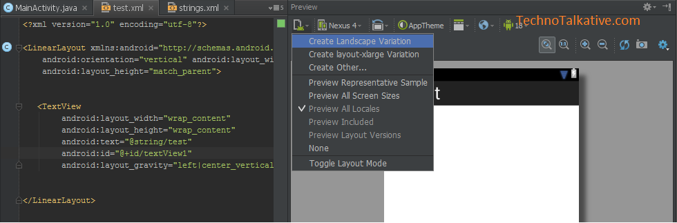 layout variation - android studio
