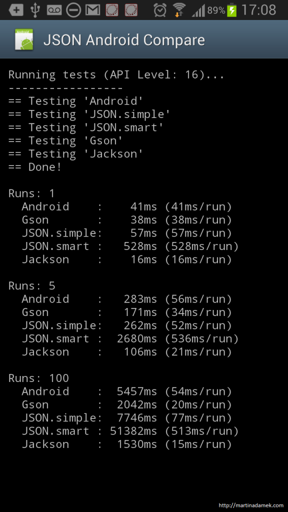 android json parsing comparison